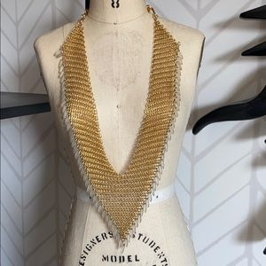 Gold plated mesh necklace